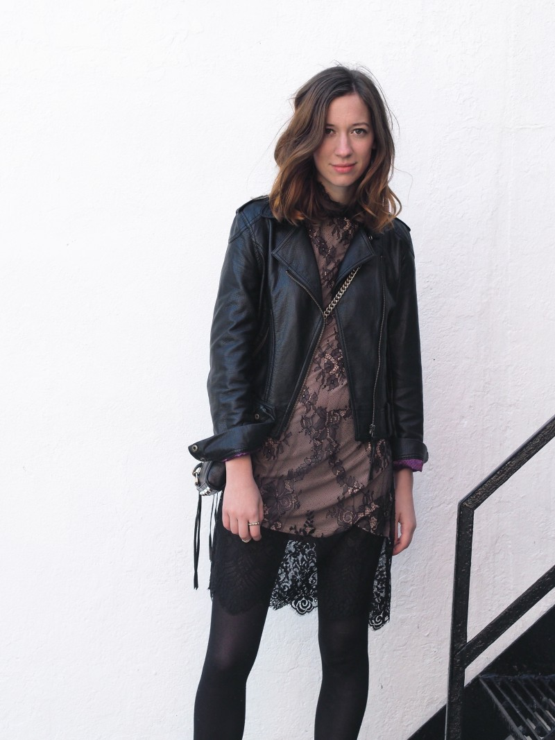 Dress layering outfit leather